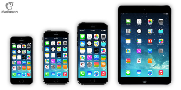 "Von links nach rechts: iPhone 5S, iPhone 6 (4,7""), iPhone 6 (5,7""), iPad mini"