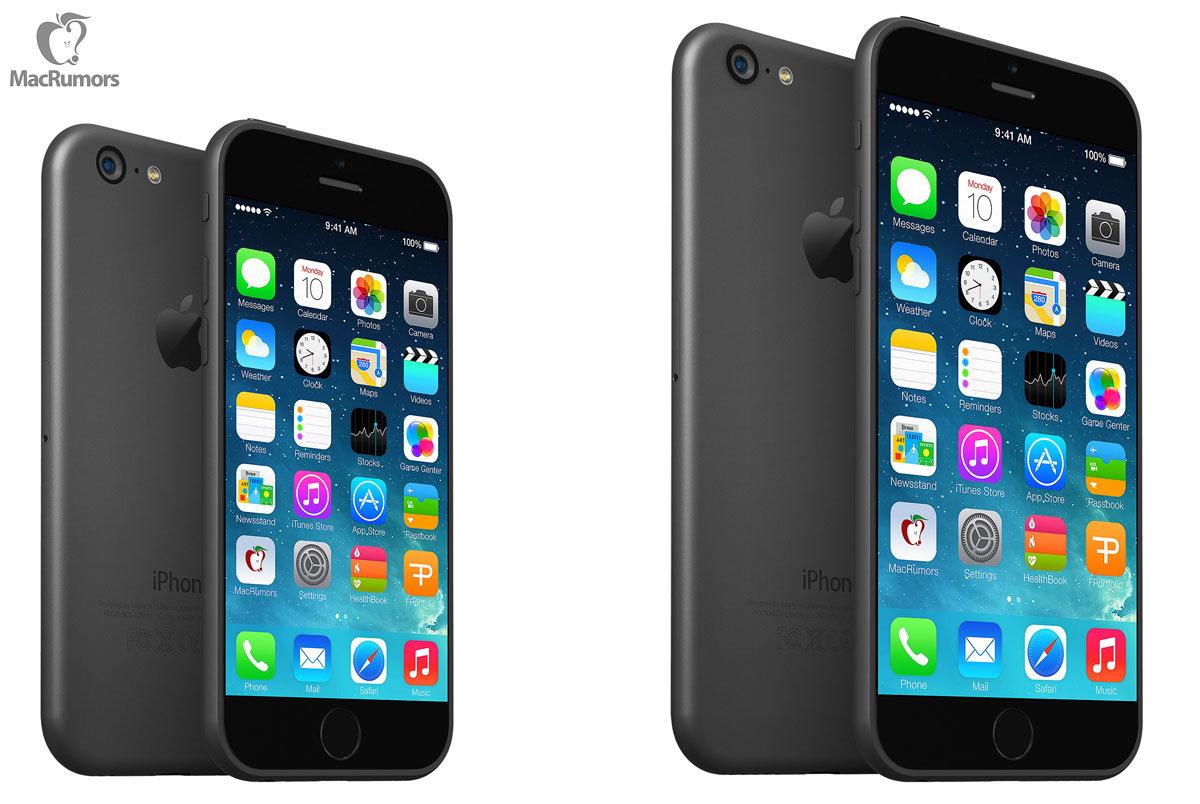So könnte das iPhone 6 mit 4,7 (links) und 5,7 Zoll (rechts) aussehen