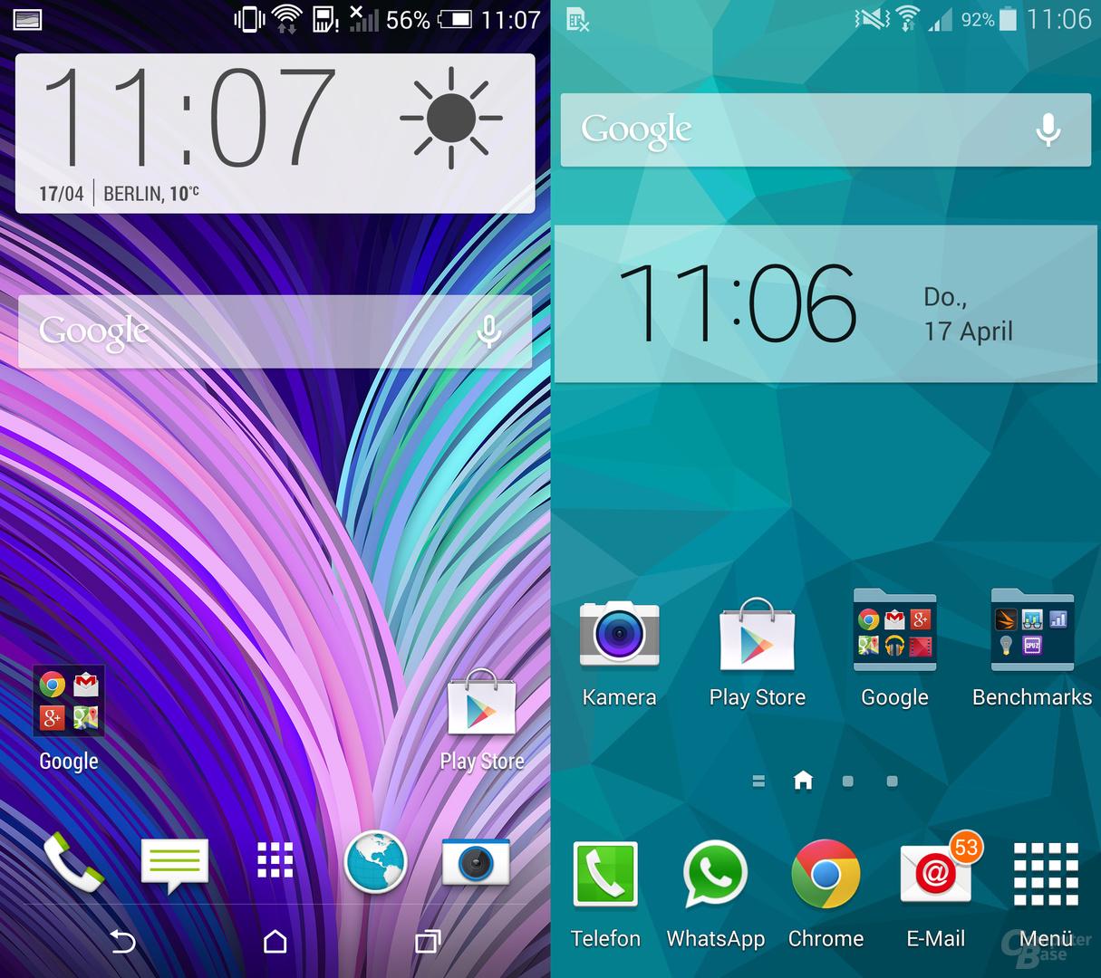 HTC One (M8) & Samsung Galaxy S5: Startbildschirm