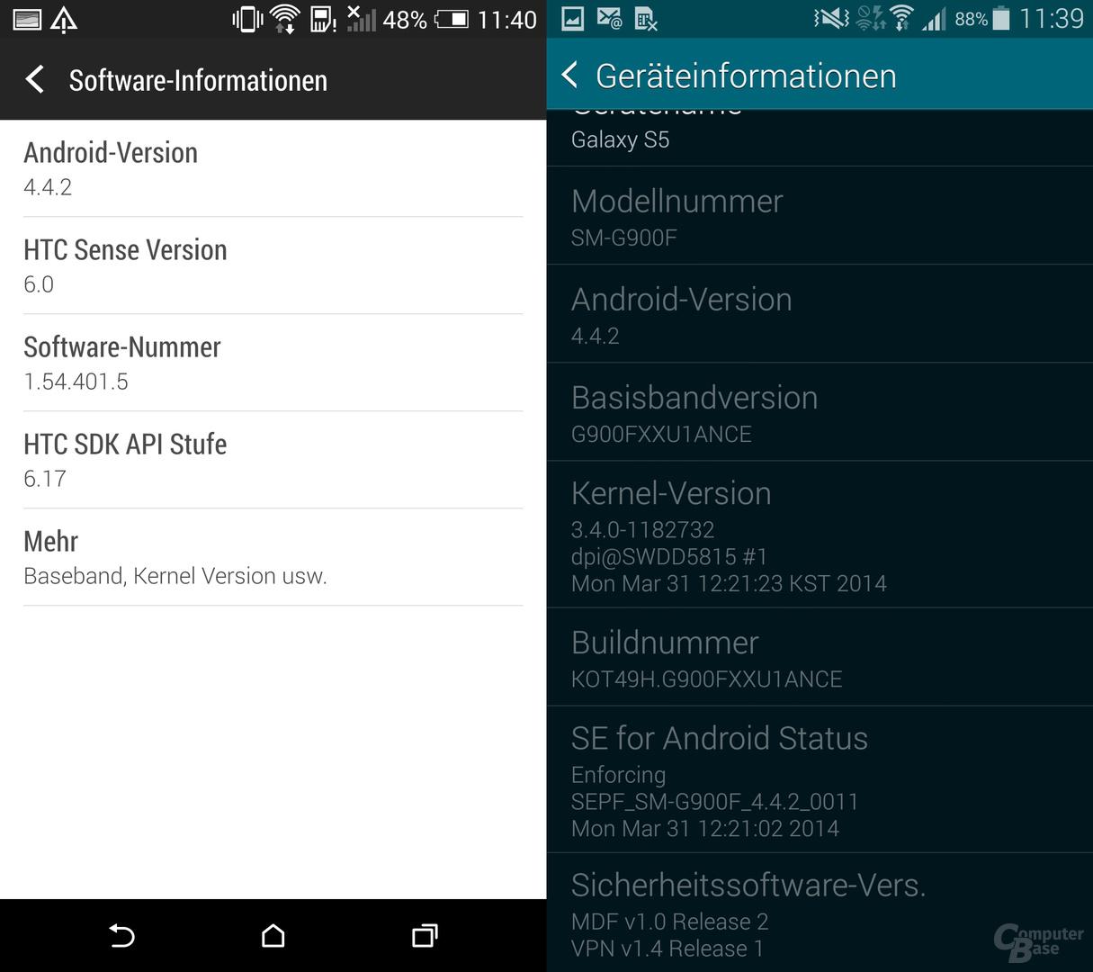 HTC One (M8) & Samsung Galaxy S5: Geräteinfo