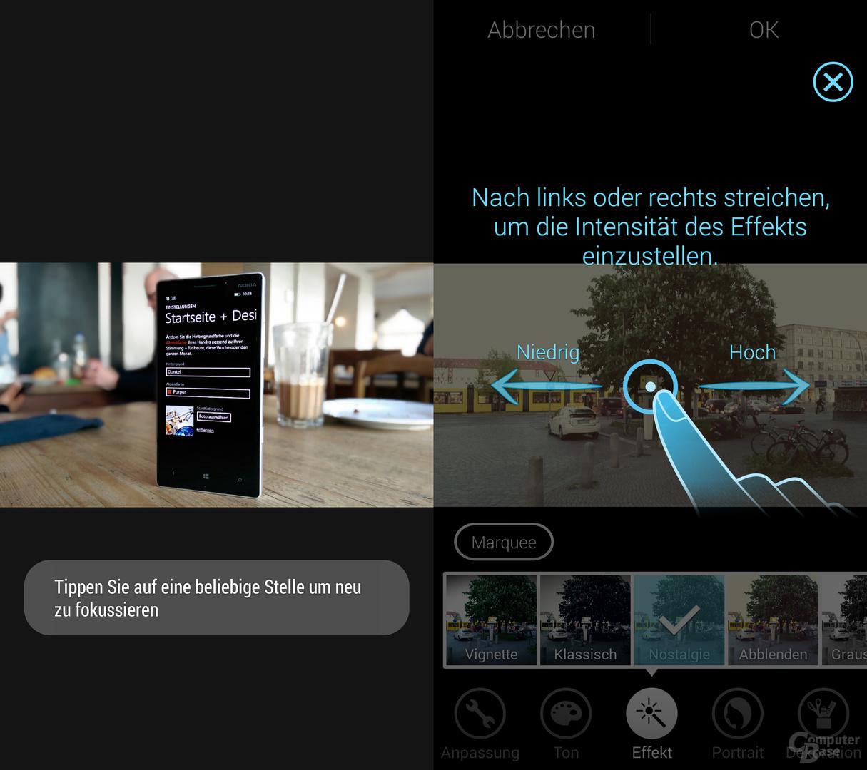 HTC One (M8) & Samsung Galaxy S5: UFocus und Effekte