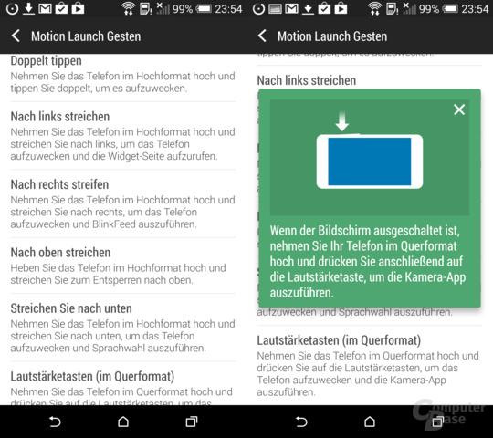 HTC One (M8): Gestensteuerung