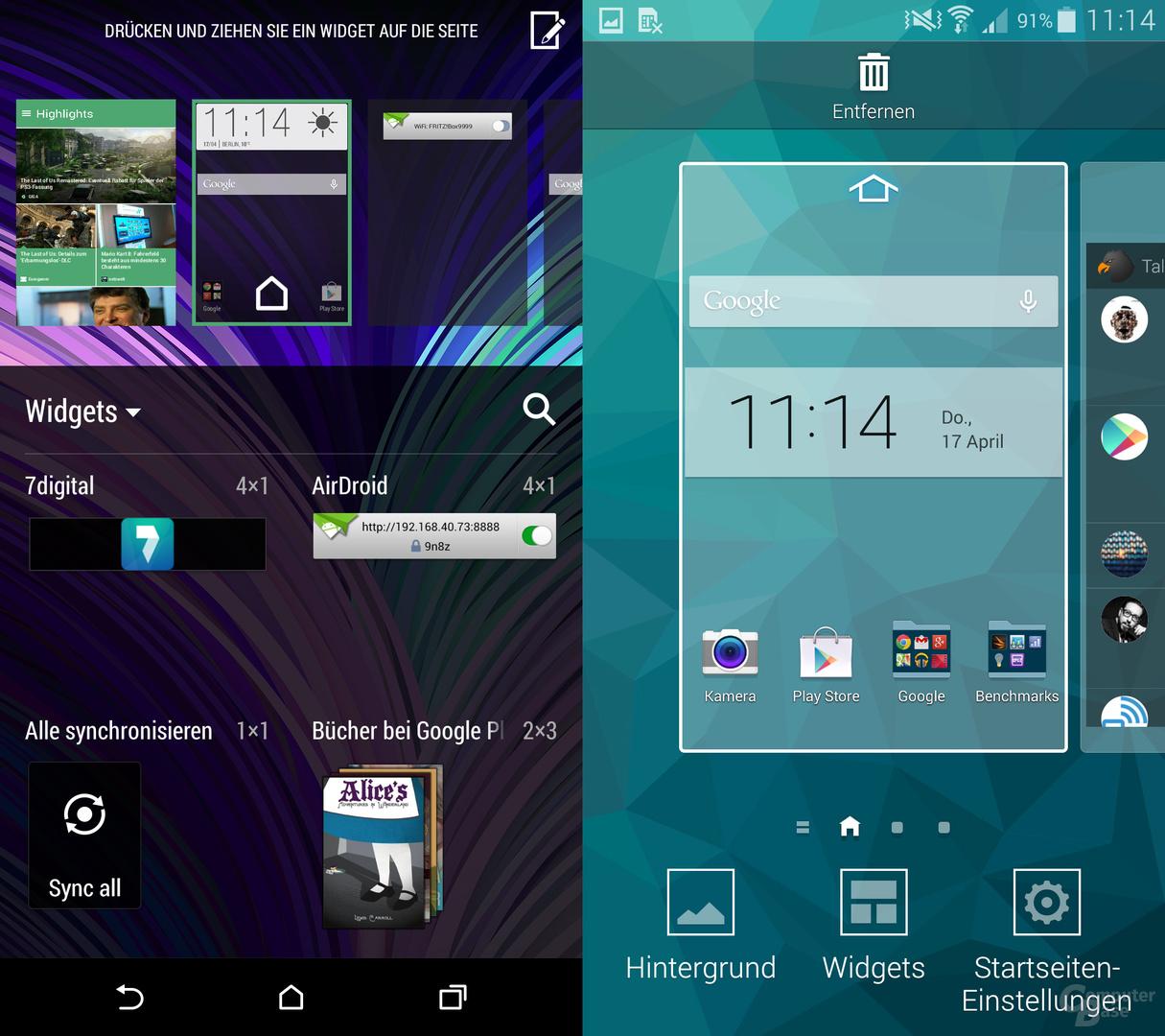 HTC One (M8) & Samsung Galaxy S5: Homescreens verwalten