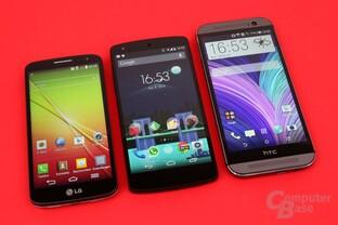 Größenvergleich: LG G2 Mini / Google Nexus 5 / HTC One (M8)
