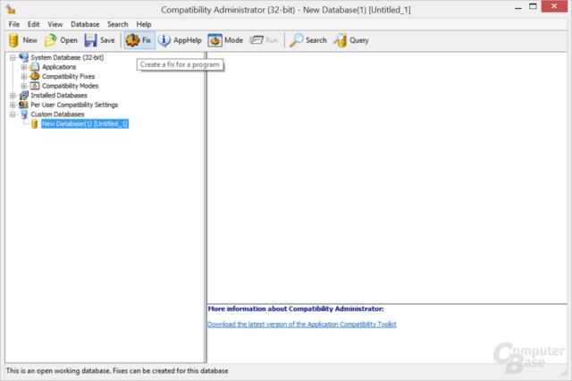 "Im Microsoft Compatilibty Administrator ""New Database"", dann ""Fix"" anwählen"