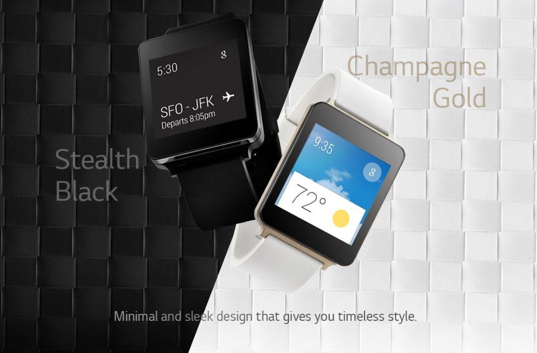 LG G Watch in Stealth Black und Champagne Gold