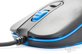 Das textil ummantelte USB-Kabel ist am Ansatz mit einem Knickschutz versehen