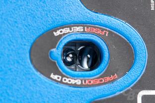 Blick auf das Linsensystem der zentral positionierten Laser-Sensorik