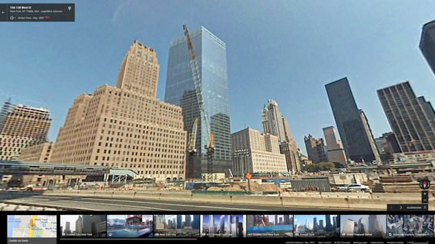 Zeitreise mit Google Street View: Freedom Tower in New York City