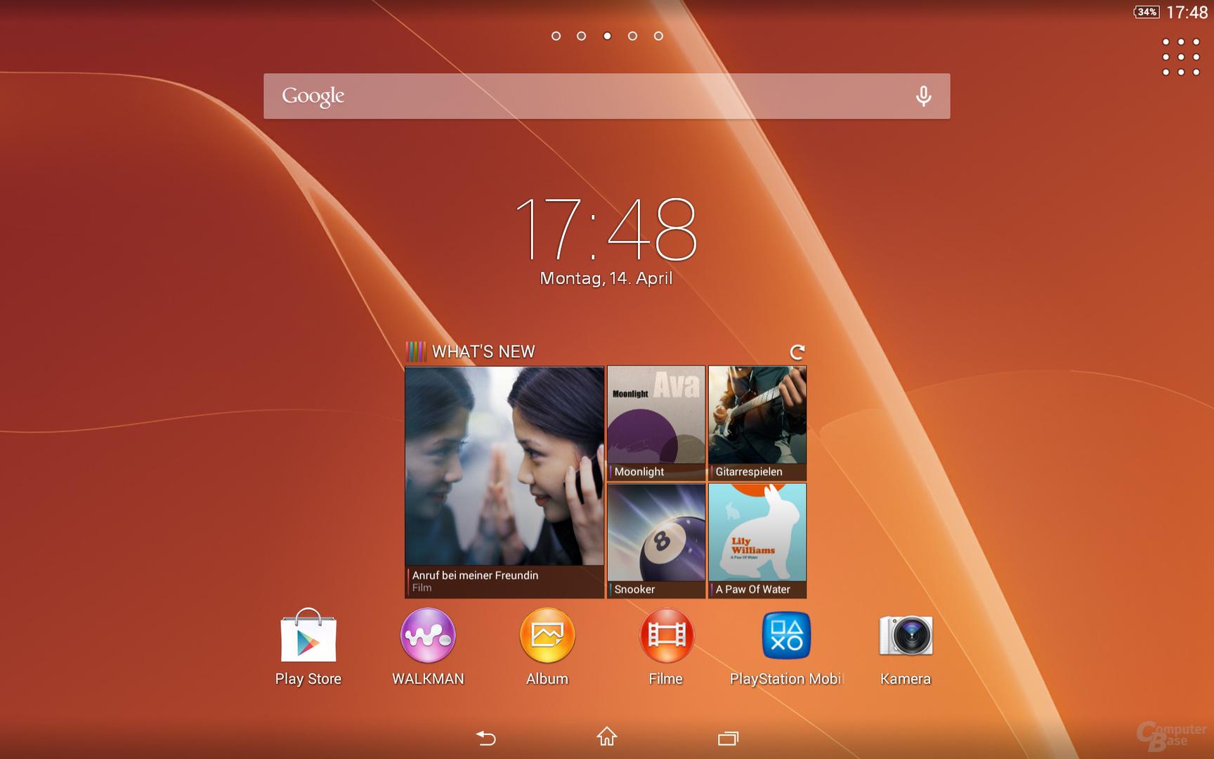 Sony Xperia Z2 Tablet Homescreen