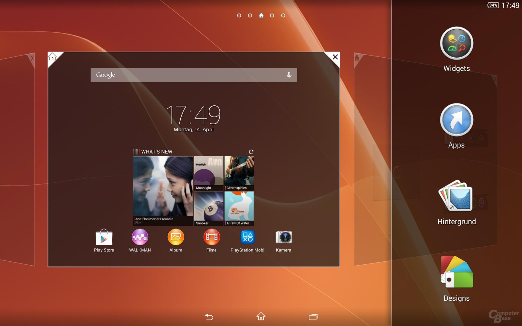 Sony Xperia Z2 Tablet Homescreen Einstellungen