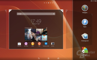 Sony Xperia Z2 Tablet Homescreen Einstellungen