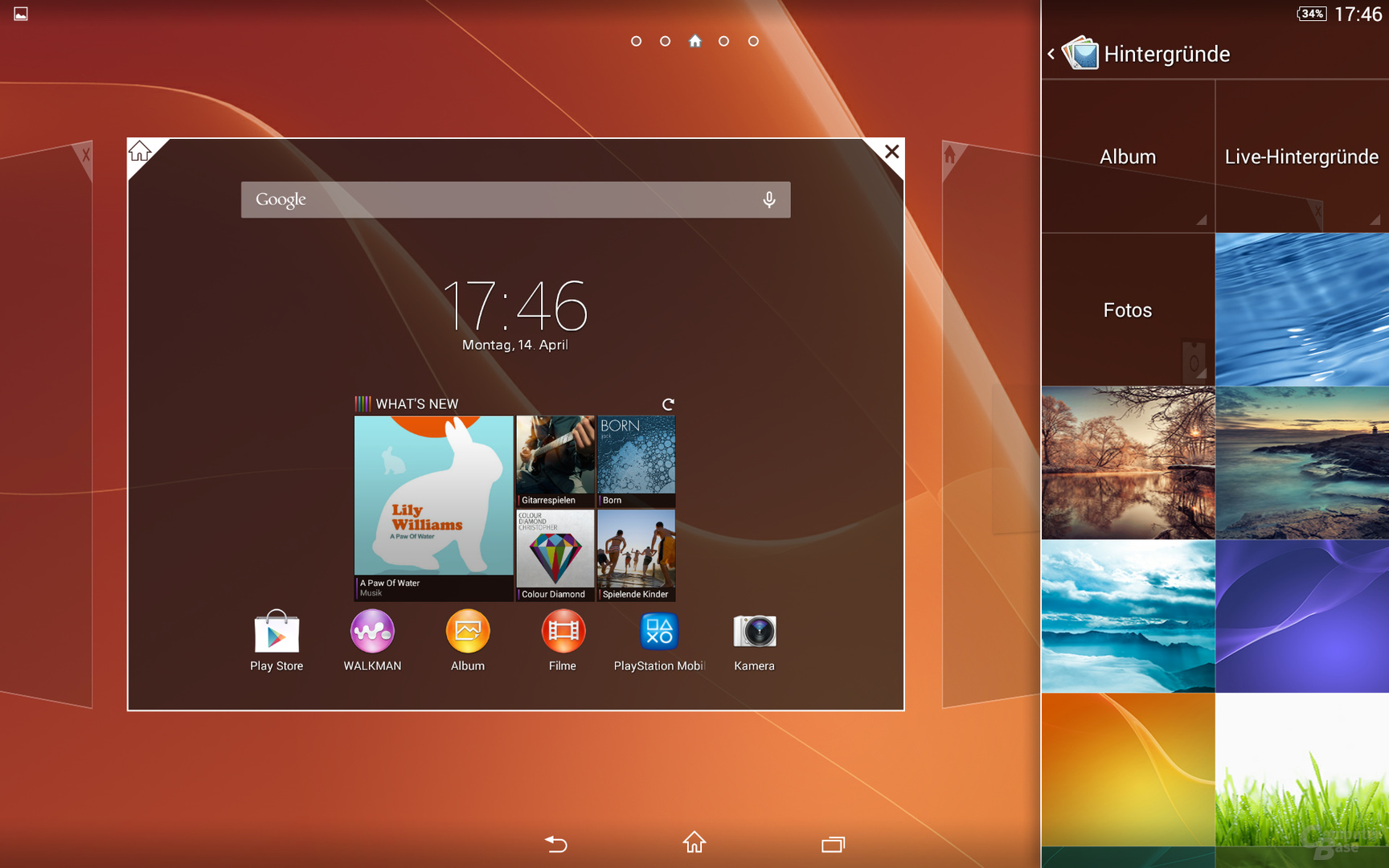 Sony Xperia Z2 Tablet Homescreen Hintergrund
