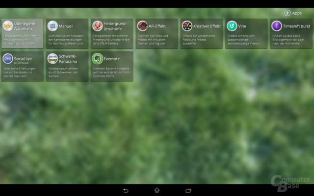 Sony Xperia Z2 Tablet Kamera-App
