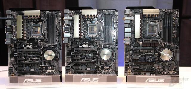 Drei Z97-Boards von Asus der Channel-Serie