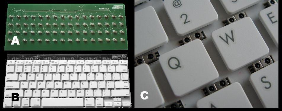 Sensoren zwischen den Tastenreihen erkennen Gesten