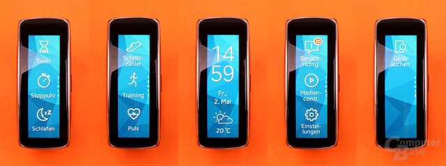 Die fünf Homescreens der Gear Fit