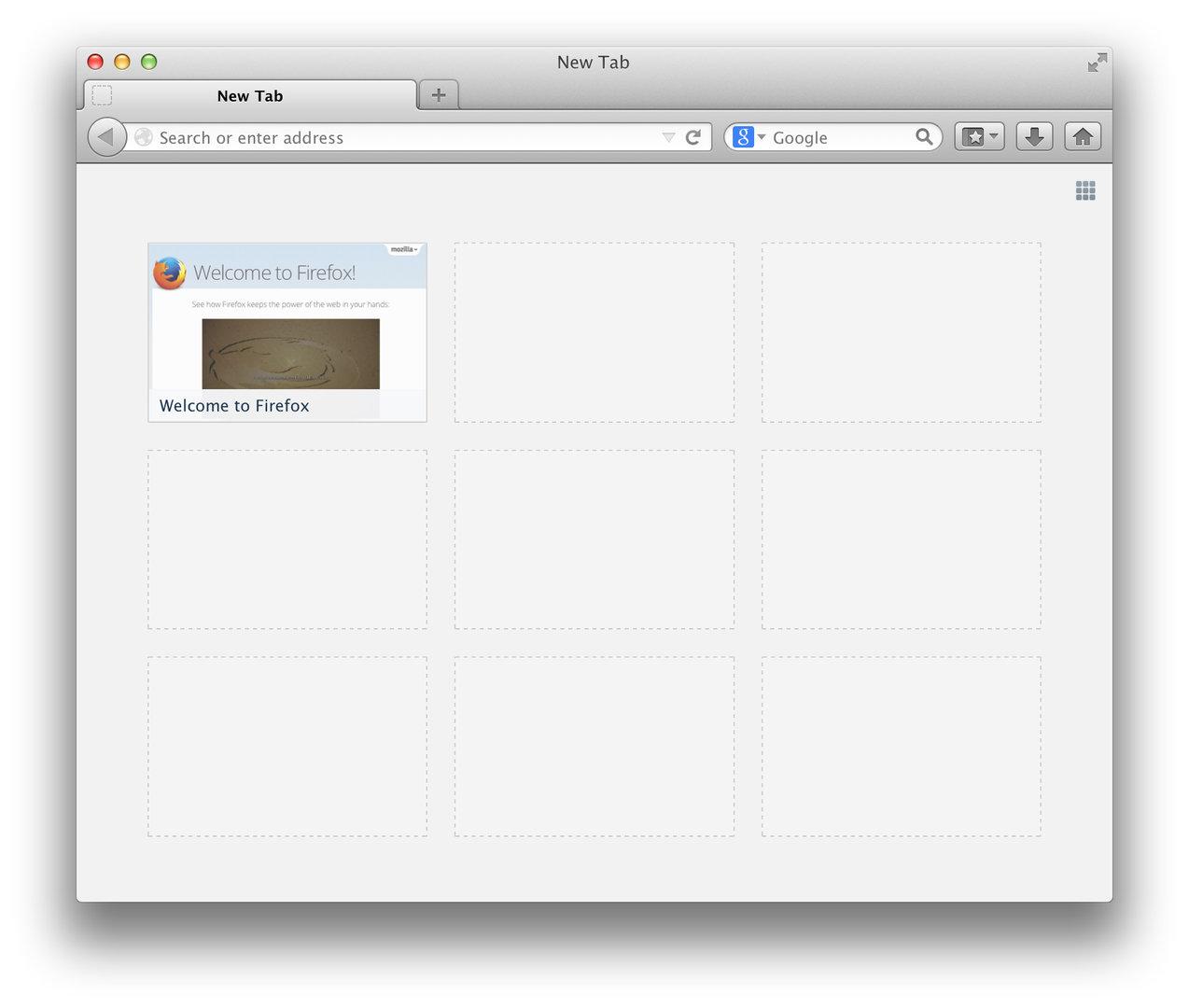 Neuer Tab in Mozilla Firefox