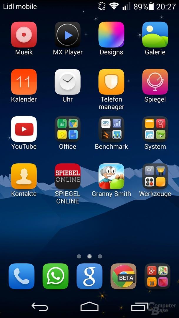 Homescreen mit allen Apps