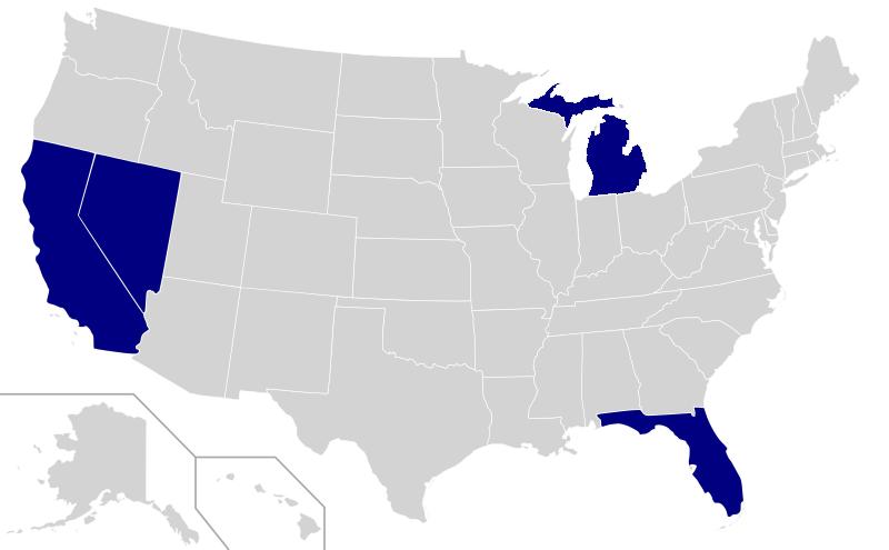 """US-Bundesstaaten, die Testfahrten mit Googles """"Self Driving Car"""" erlauben."""