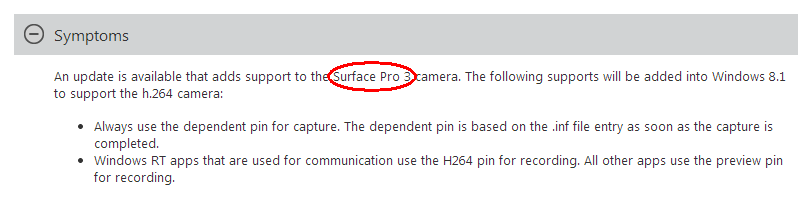 ...support to the Surface Pro 3 camera.