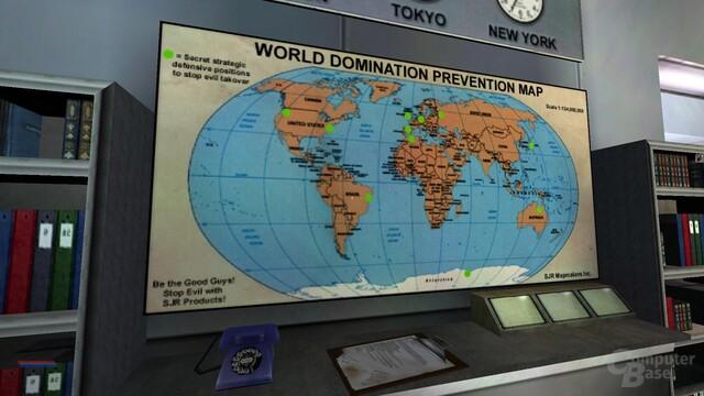 Nette Details wie diese Karte nehmen das Setting auf die Schippe