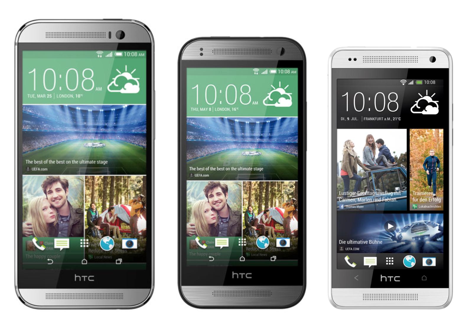 v.l.n.r.: HTC One (M8), HTC One mini 2, HTC One mini