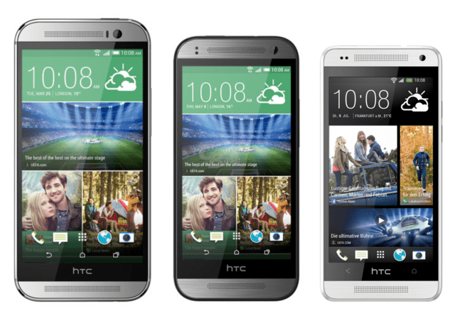 v.l.n.r.: HTC One (M8), HTC One mini 2, HTC One mini