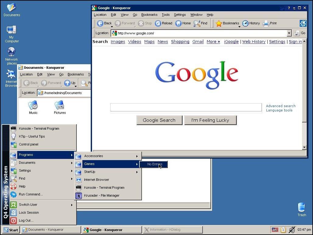 Der klassische Windows-XP-Desktop in Q4OS