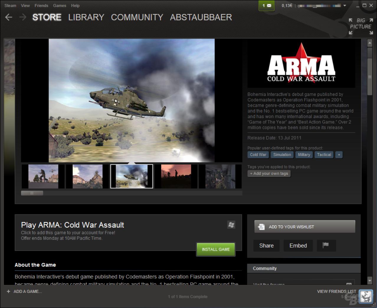 Arma: Cold War Crisis (ehemals: Operation Flashpoint) ist kostenlos auf Steam erhältlich