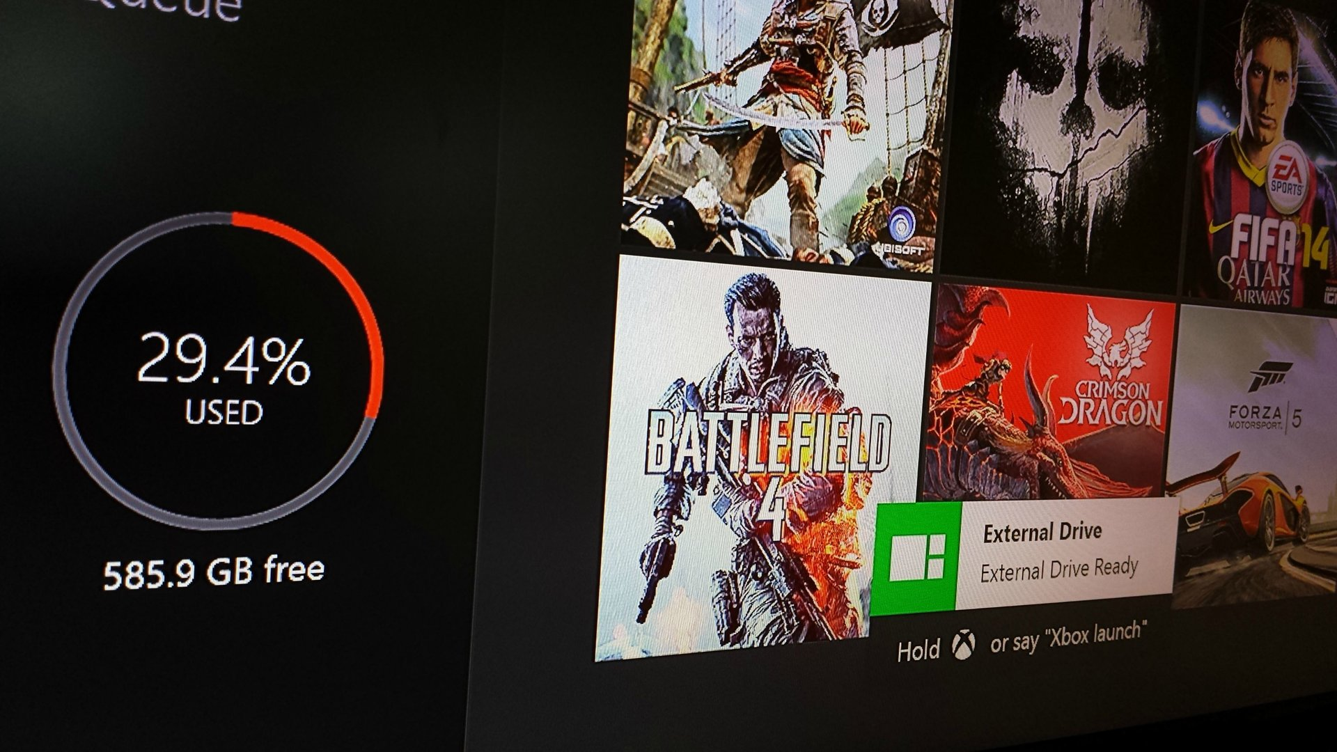 Xbox One in Verbindung mit externer Festplatte