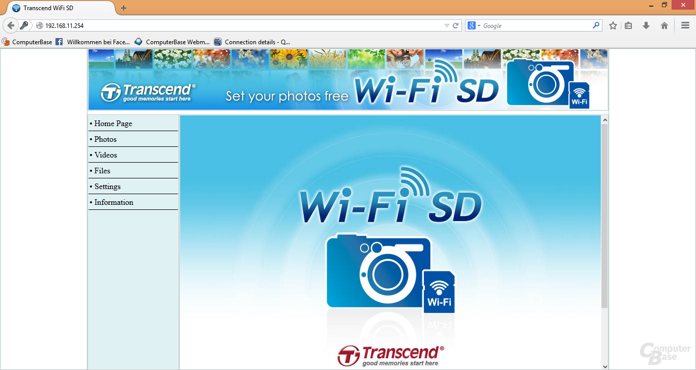 Transcend Wi-Fi SD: Browser-Ansicht