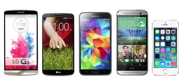 v.l.n.r.: LG G3, G2, Galaxy S5, HTC One (M8), iPhone 5S