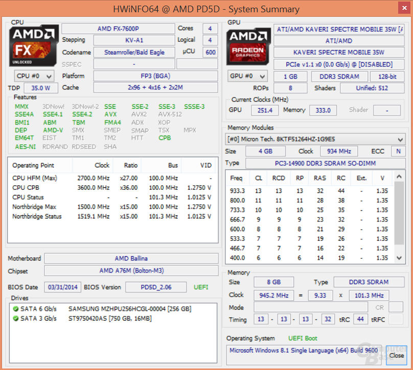 "AMD FX-7600P ""Kaveri"""