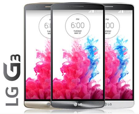 Das LG G3 in Gold, Schwarz und Silber – Front