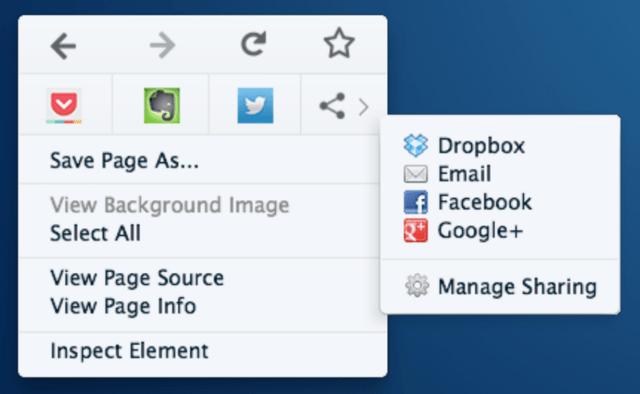 Neues Kontextmenü in Firefox 32