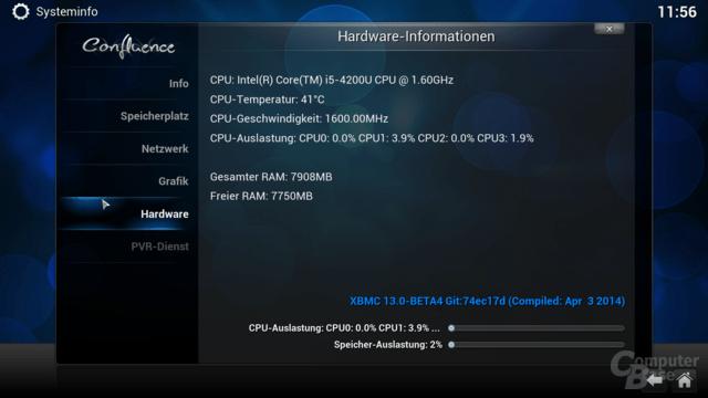 XBMC-Betrieb bei 13 Watt und 44 Grad CPU-Temperatur
