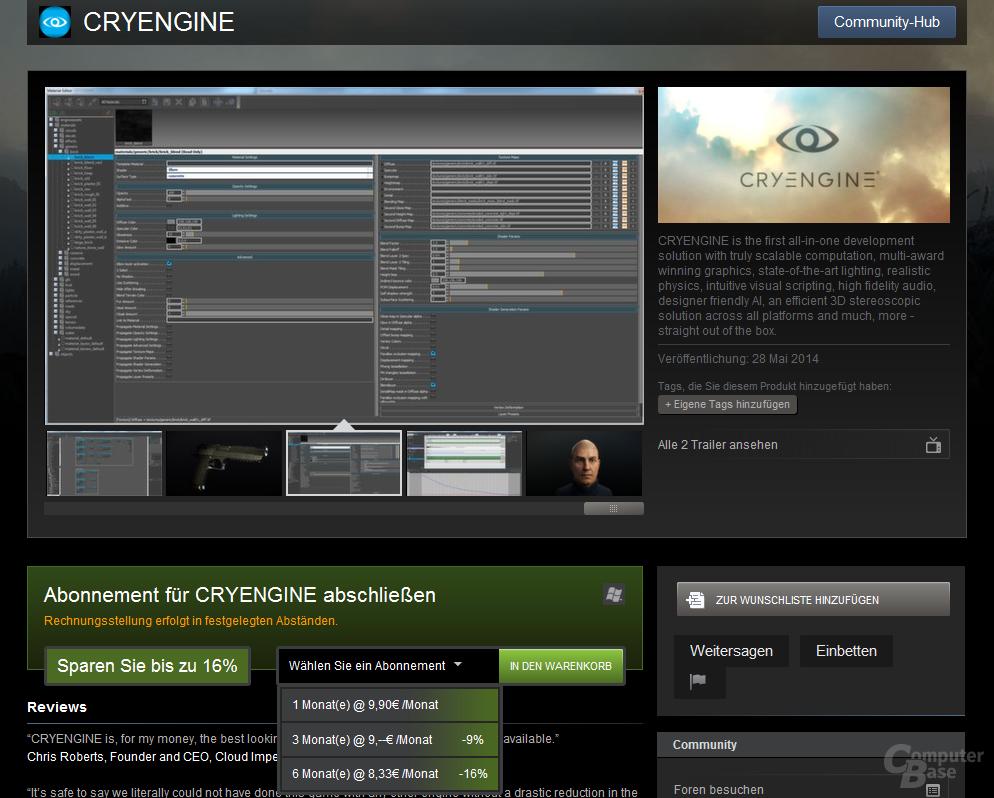 Abonnement-Modell für CryEngine im Steam-Shop
