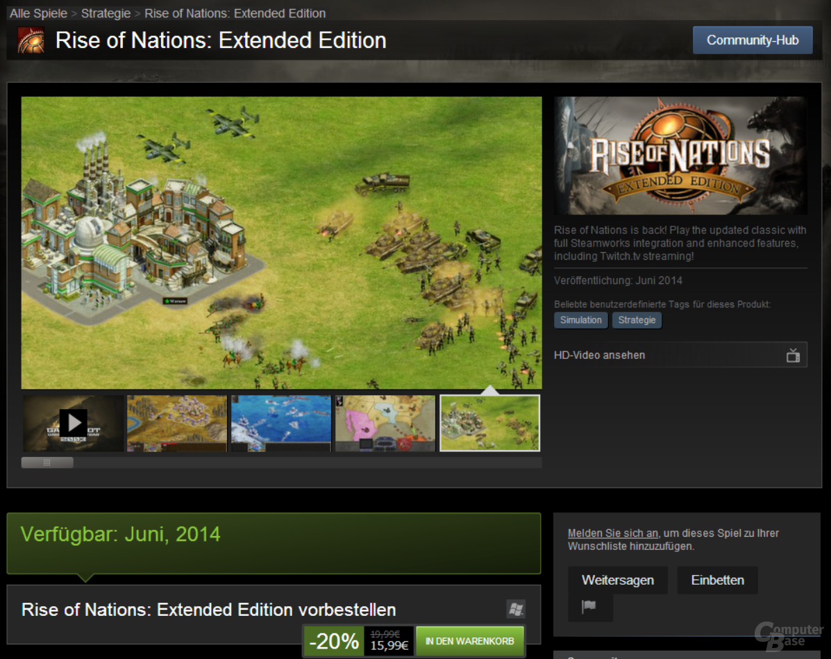 Rise of Nations: Extended Edition im Steam-Shop