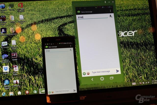 Links das Smartphone, rechts das Abbild unter Windows