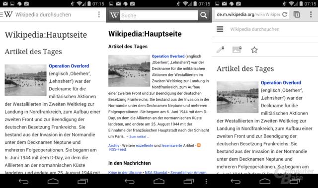 Startseite: Wikipedia Beta / Wikipedia (alt) / Wikipedia Web