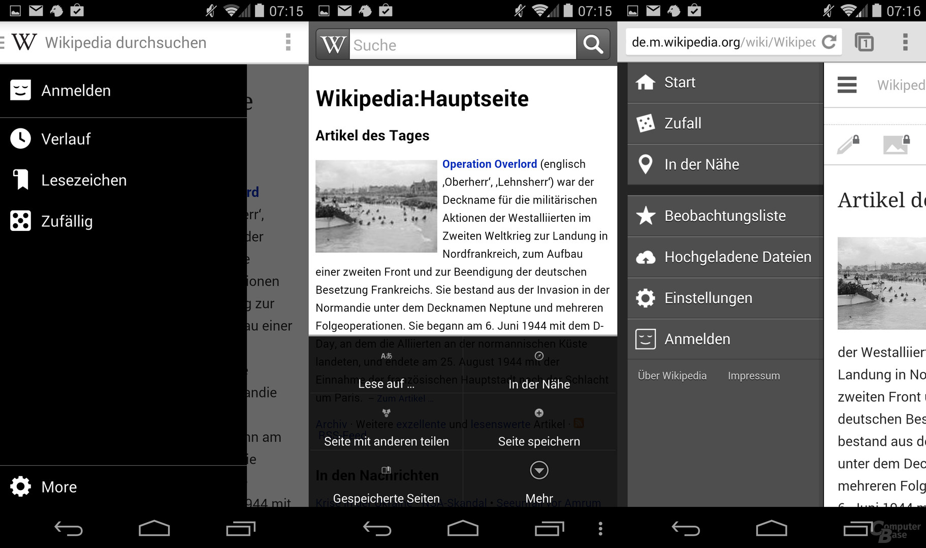 Menü: Wikipedia Beta / Wikipedia (alt) / Wikipedia Web