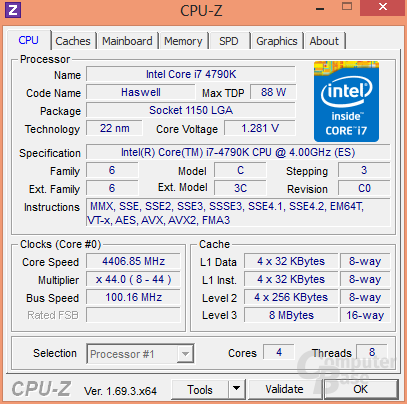 Intel Core i7-4790K im maximalen Turbo