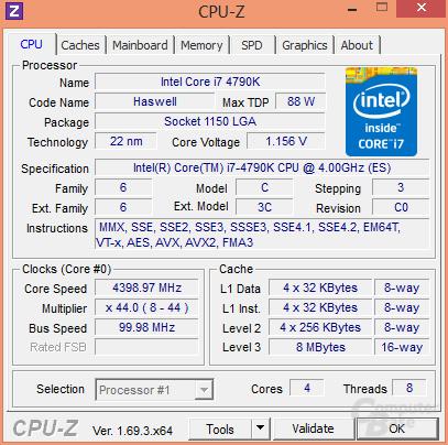 Intel Core i7-4790K mit 0,125 Volt geringerer Spannung