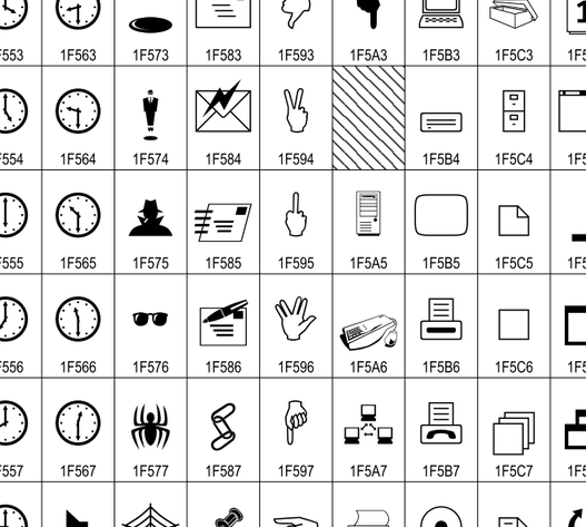 """Auszug aus den neuen Symbolen inklusive """"Stinkefinger"""""""