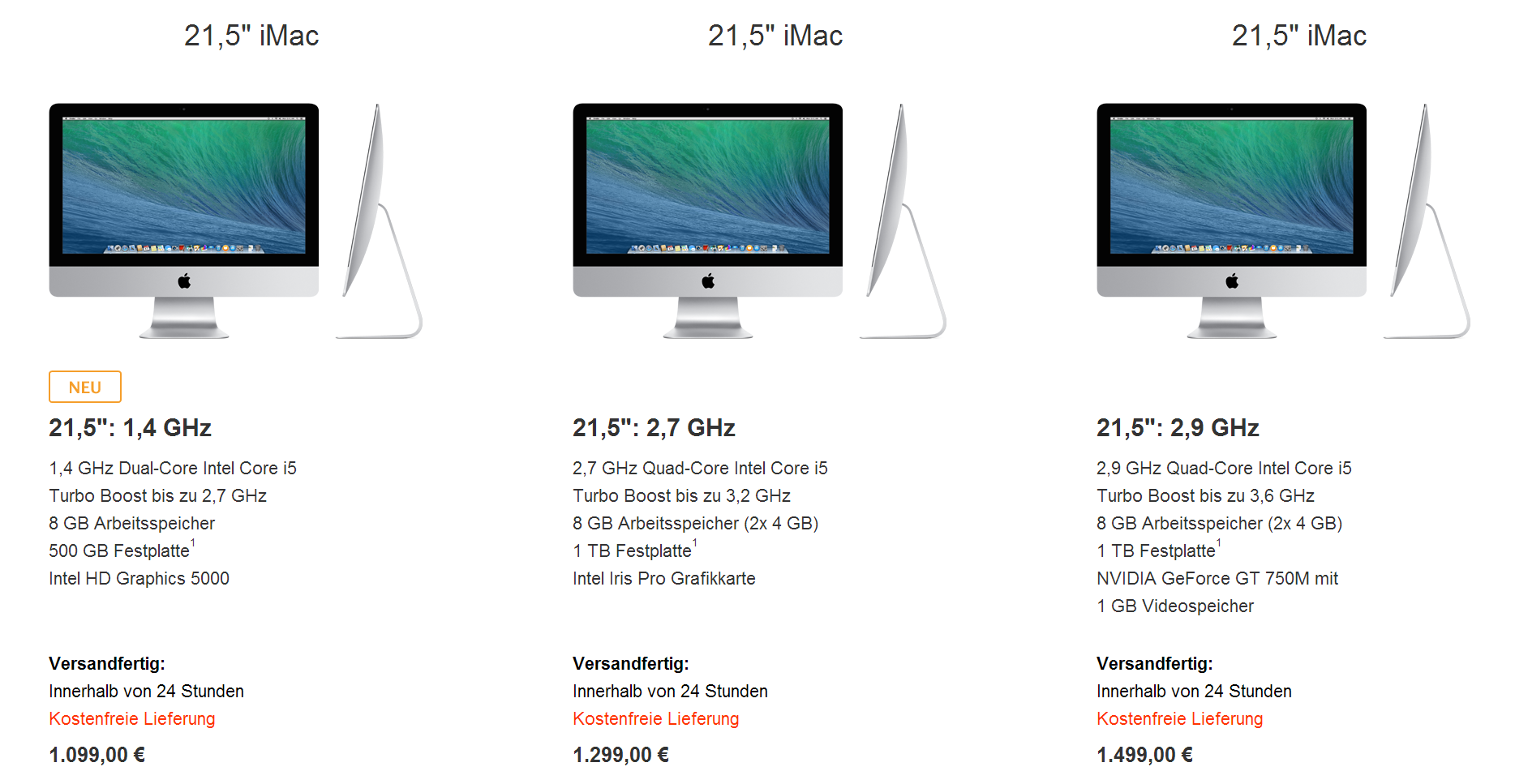 Apple iMac in 21,5 Zoll ab sofort ab 1.099 Euro