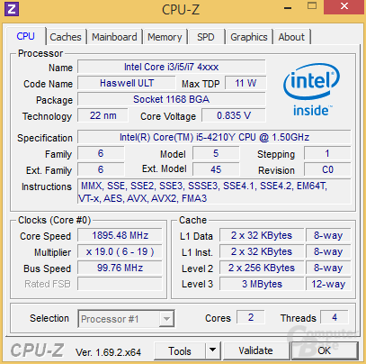 Intel Core i5-4210Y im maximalen Turbo-Takt