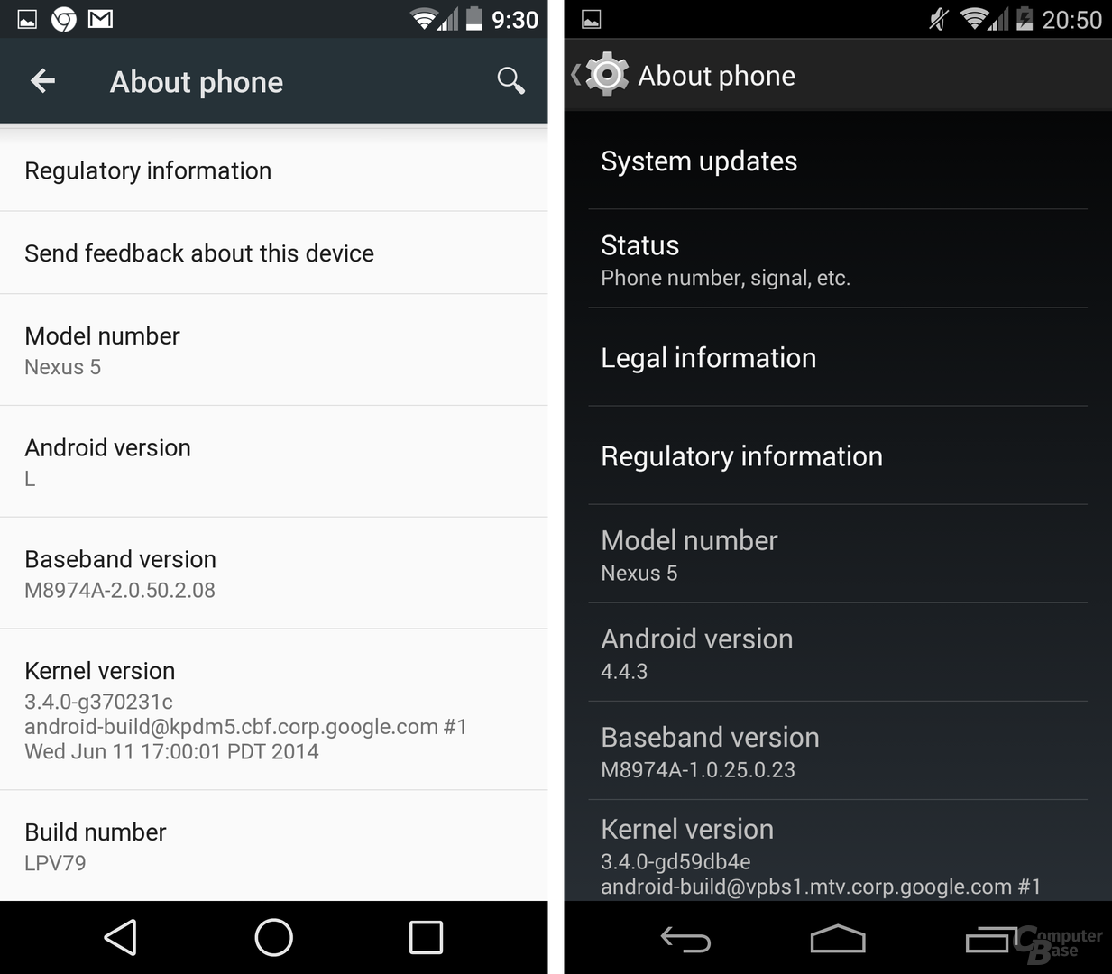 Android L / Android 4.4 KitKat – Über das Telefon