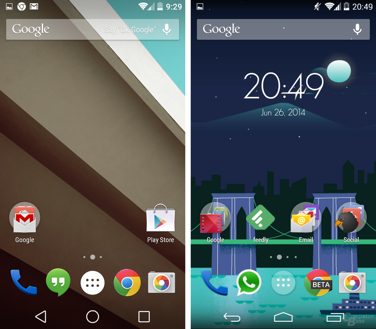Android L / Android 4.4 KitKat – Homescreen