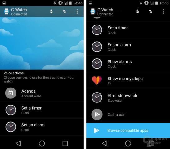 Sprachbefehle zuweisen und auf Google Play nach Android-Wear-Apps suchen